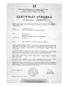 Certifikát výrobku 001